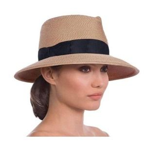 ERIC JAVITS Phoenix Fedora Hat In Natural & Black